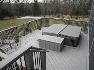 Kansas City Evergrain Composite Spa Deck with Storage Bench