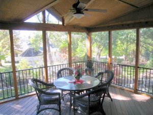 Kansas City Screened Porch inside tongue and groove ceiling