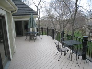AZEK deck Forttress Rail, lighting and Timbertech rail posts in Leawood Ks