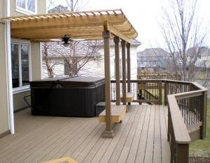 EverGrain Deck and Rail with Pergola over Hot Tub