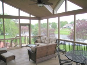 Screened porch with stained ACQ treated lumber in Overland Park KS