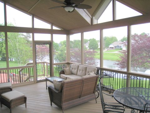 Screened porch with stained ACQ pressure-treated wood in Overland Park, KS