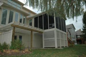 Screened Porch with Lattice Skirting and Pergola in Overland Park, KS