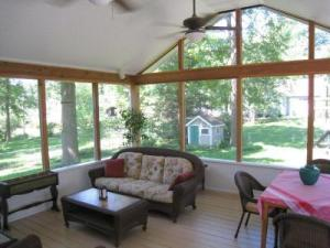 Overland Park KS Screened Porch with Treated Wood Floor and Knee Wall
