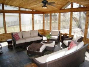 Leawood KS Screened Porch with Cedar Trimmed Roof and Slate Tile Floor