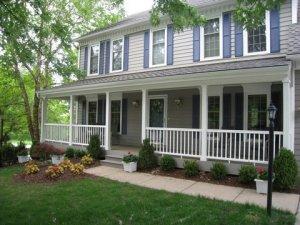 Front porch, Azek trimmed columns, Evergrain flooring Overland Park Ks