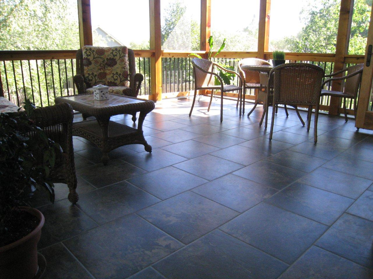 Overland park screened porch with tile floor archadeck of kansas beautiful tile floor overland park by archadeck dailygadgetfo Images