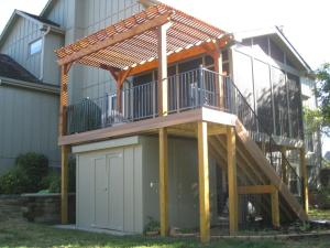 Garden shed integrated into deck Lenexa KS Archadeck