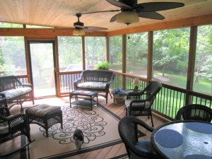Kansas City screen porch with wood floor