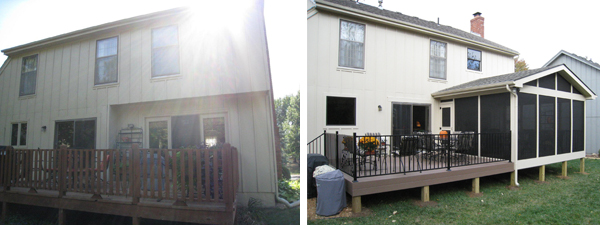 Lenexa before after new porch and deck