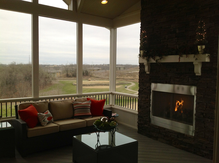 Lenexa 2nd story screened porch fireplace archadeck kansas for Screened in porch fireplace ideas