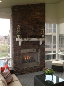 Lenexa KS outdoor fireplace on porch Archadeck Kansas City