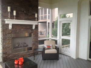 Kansas City porch with outdoor fireplace