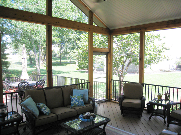 Archadeck of kansas city kansas city porch builder deck for Screened porch furniture layout
