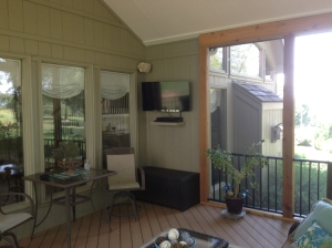 Lenexa screened porch with TV
