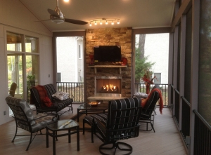 KC screened porch fireplace AZEK floor