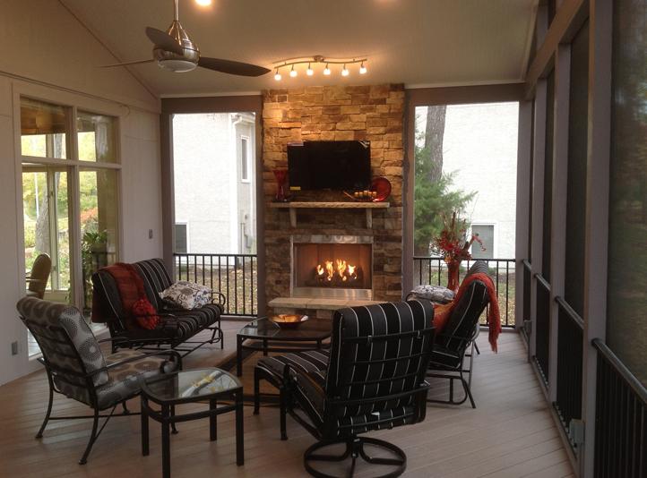 KC screened porch fireplace AZEK floor