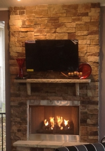 KC stone outdoor fireplace