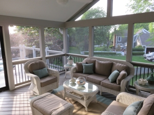 Kansas City screen porch attached Evergrain deck lr