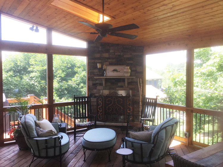 leawood ks porch with outdoor fireplace